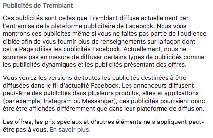 """Explicatif de la nouvelle fonctionnalités """"Voir les publicités"""" d'une page Facebook"""