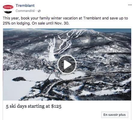 Publicité Facebook de Tremblant