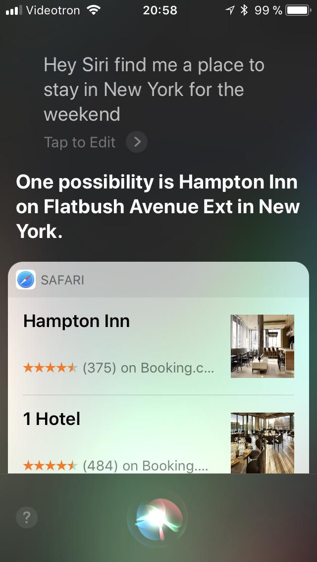 Vocal Search for Hotel in NYC