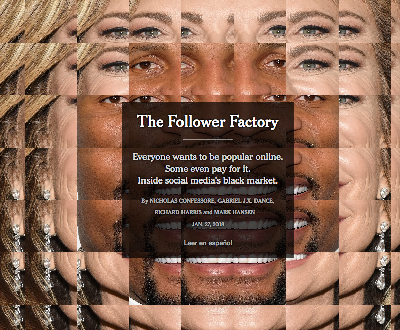 The Follower Factory, New York Times, 27 janvier 2018