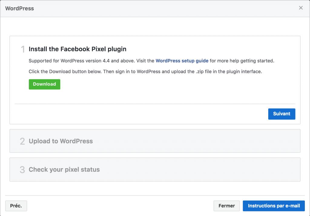 Pixel Facebook - Installer plugin