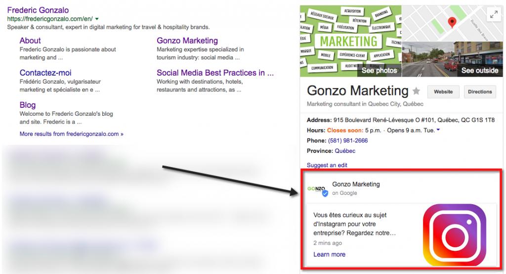 Exemple de message publié dans Google Mon Entreprise et qui s'affiche dans un résultat de recherche en ligne sur Google.
