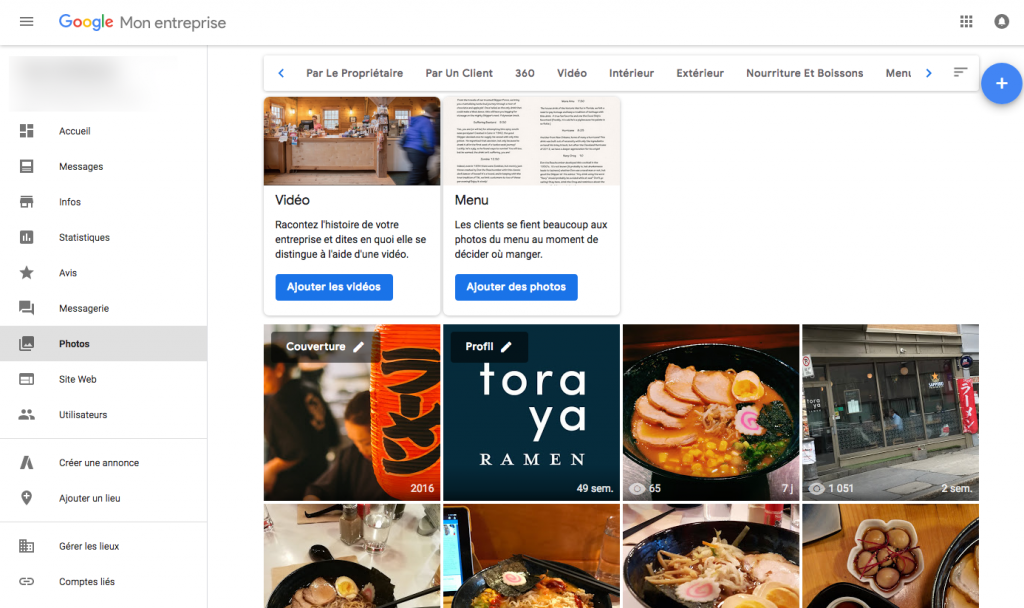 Gestion des photos dans Google Mon Entreprise