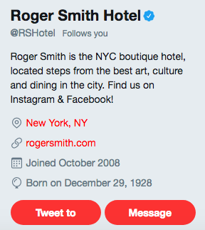 Example of Roger Smith Hotel Twitter account cross-promoting Instagram and Facebook accounts.