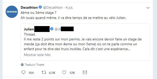 Exemple de mention sur Twitter par le compte de Decathlon
