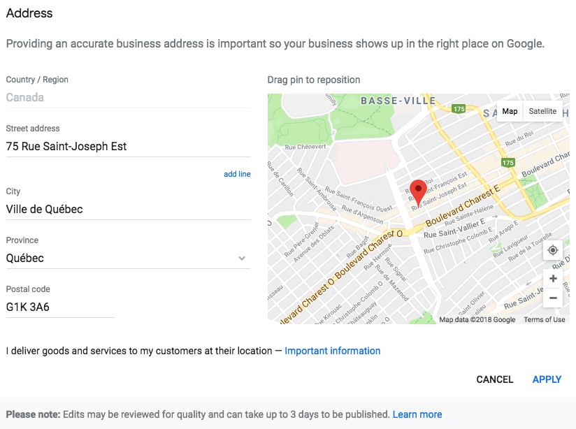 Defining the exact location of your business on Google Maps is key!
