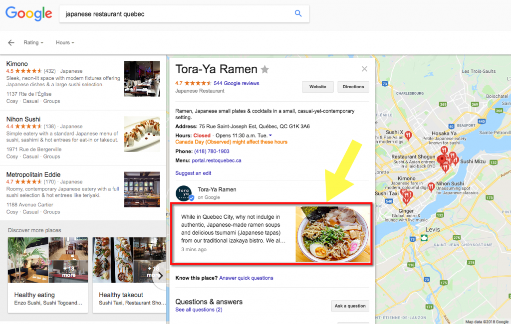 Example of post in Google My Business that appears in search, within Google's Knowledge Graph