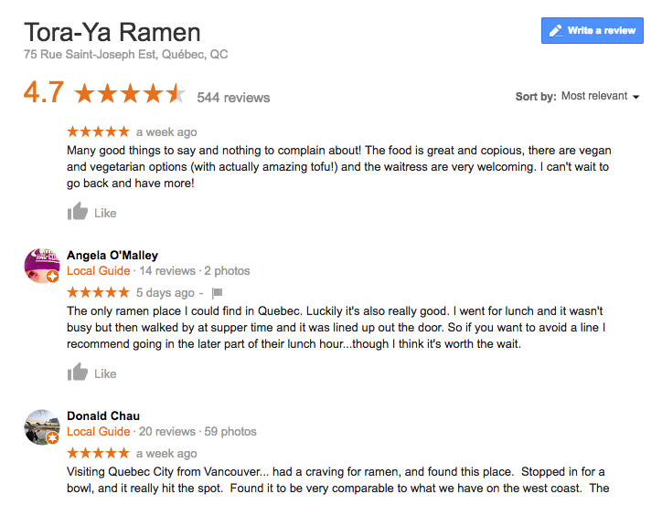Examples of reviews left on Google for Tora-Ya Ramen, a Japanese restaurant in Quebec City