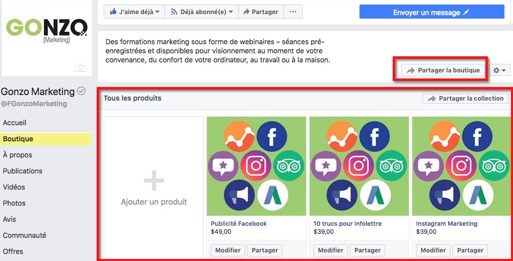 Exemple de boutique Facebook