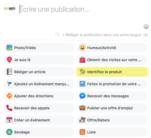 Exemple d'identification de produit dans une publication Facebook