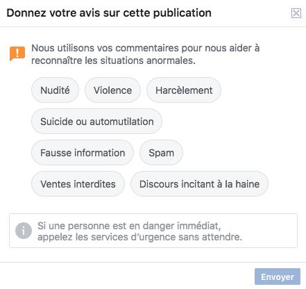 Rapporter une recommandation non valide à Facebook
