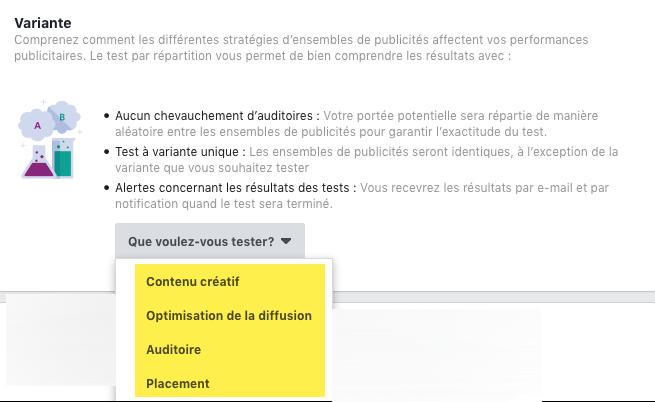 Différentes variables dans un test de répartition Facebook