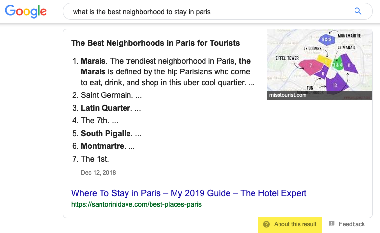 Example of featured snippet in Google