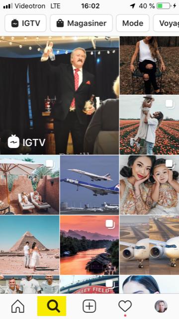 Section Explore d'Instagram