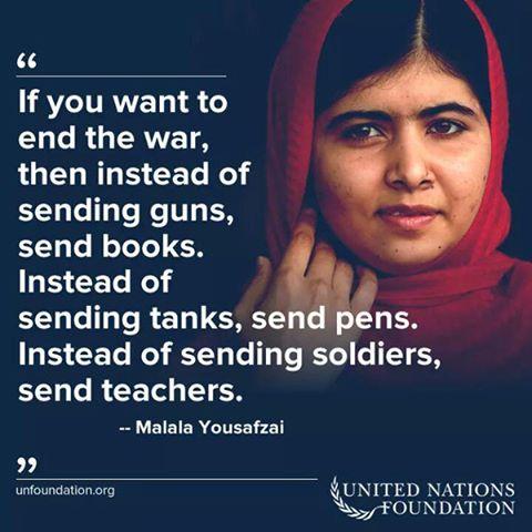 Citation de Malala Yousafzay, récipiendaire du prix Nobel de la Paix