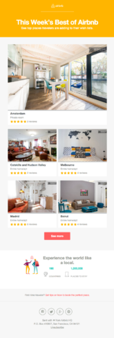 Exemple d'infolettre Airbnb