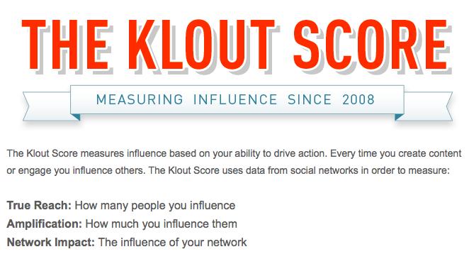 Ce que mesure l'indicateur Klout
