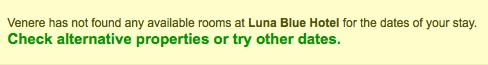 Capture d'écran sur venere.com du Luna Blue Hotel