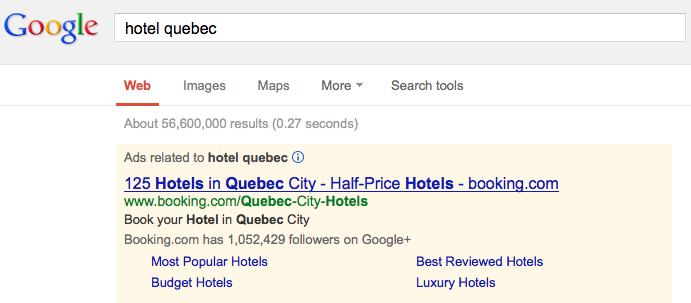 """Recherche dans Google pour """"Hotel Quebec"""""""