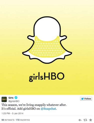 La série télé Girls sur Snapchat