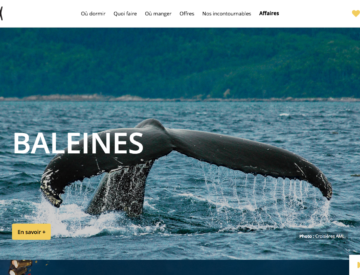 Site web de Tourisme Charlevoix mise sur les images plein écran
