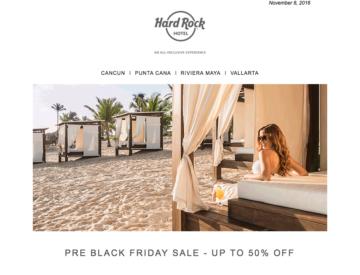 Exemple d'infolettre promotionnelle envoyée par Hard Rock Hotels