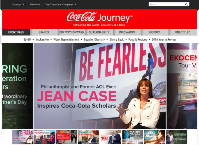 Site web corporatif Coca Cola, 2017