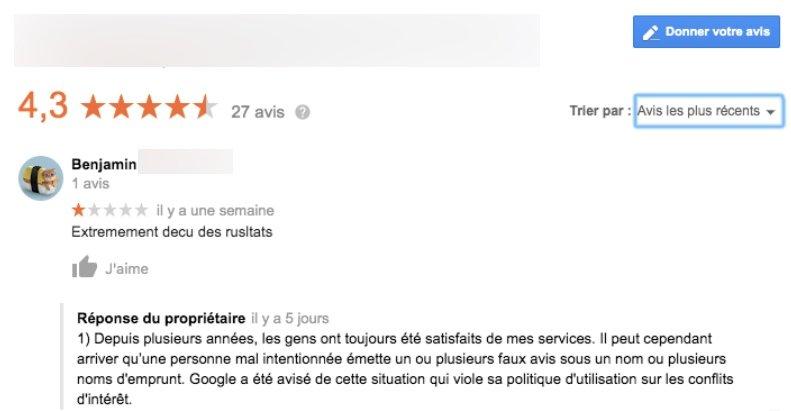 Exemple de faux avis publié Google, avec réponse de la propriétaire