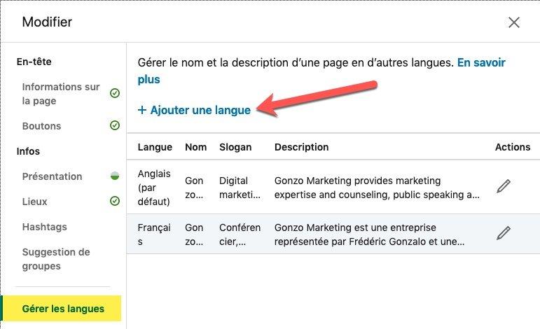 Gestion des langues sur une Page Linkedin