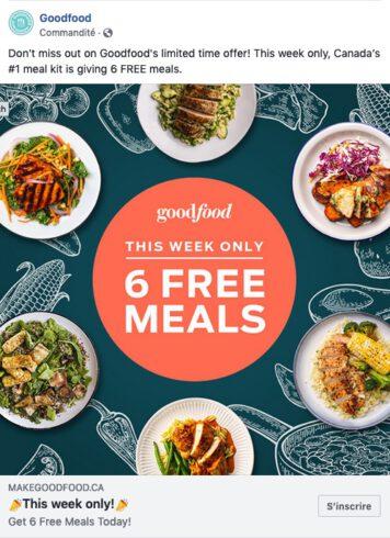 Exemple de publicité Goodfood sur Faceobok