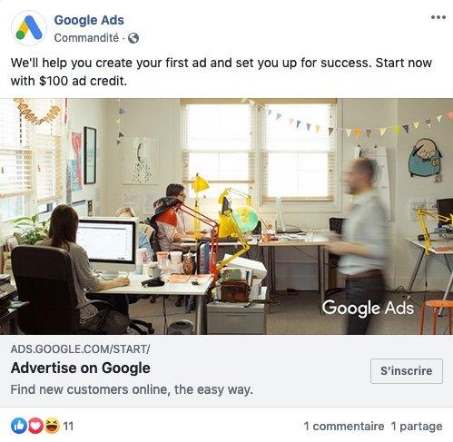 Exemple de publicité Google Ads sur Facebook