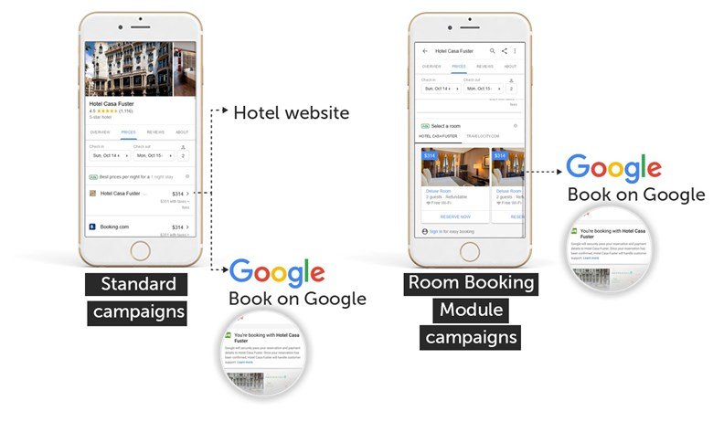 Google's Room Booking module, displayed to mobile users.