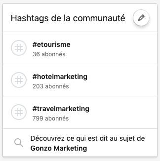 Exemples de hashtags liés à une Page Linkedin