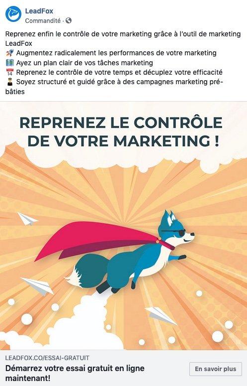 Exemple de publicité Leadfox sur Facebook