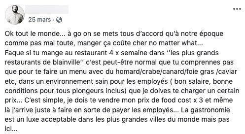 Exemple de publication controversée d'un restaurateur montréalais