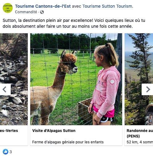 Exemple de publicité pour Tourisme Cantons-de-l'Est sur Facebook