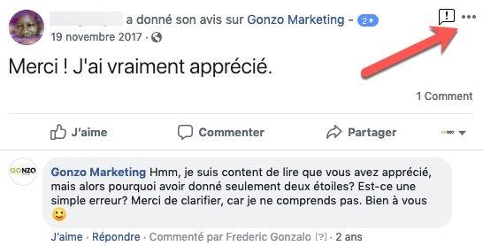 Signaler un avis sur facebook