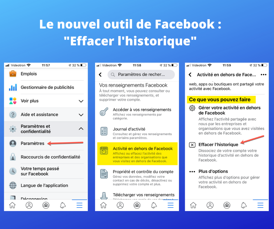 Effacer l'historique hors Facebook, version mobile