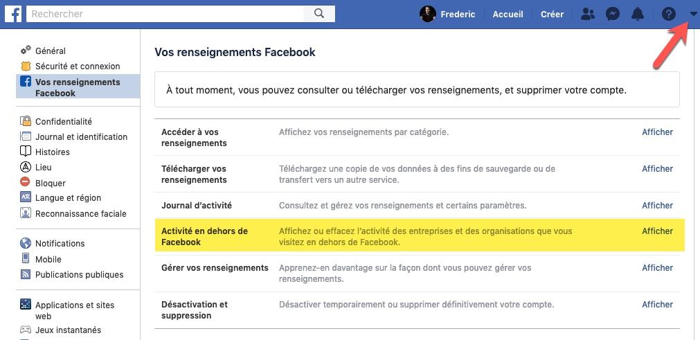 Paramètres Facebook, sur un ordinateur de bureau
