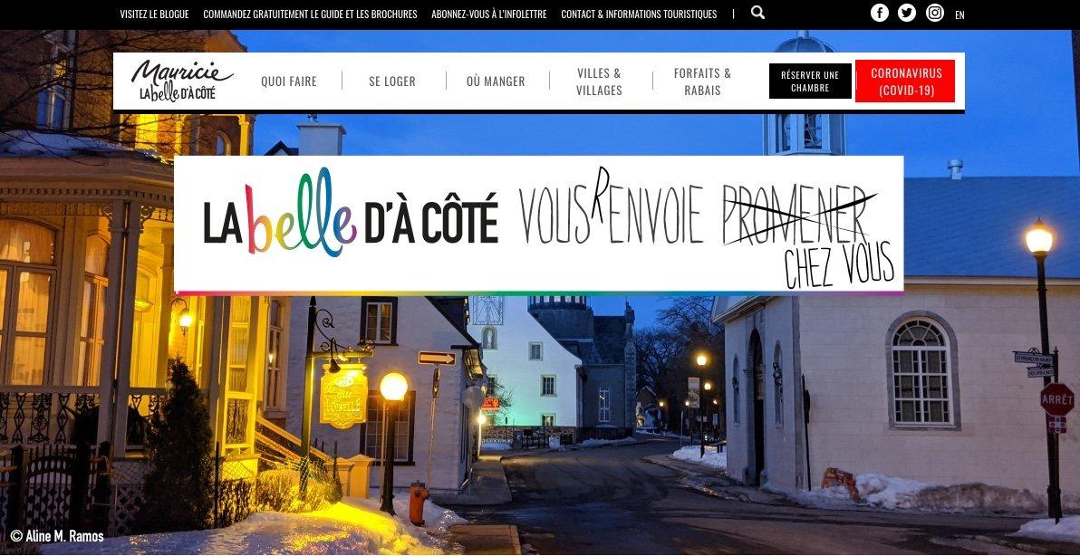 Site web Tourisme Mauricie Covid-19
