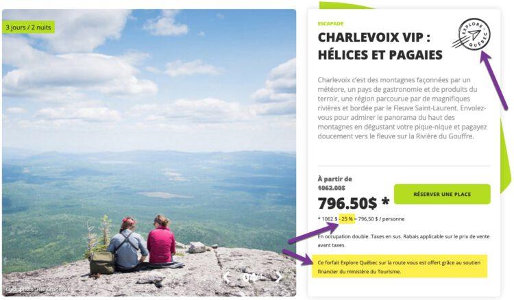 Exemple de forfait vendu dans le cadre de la campagne Explore Québec