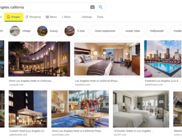 Example of hotel search on Google image