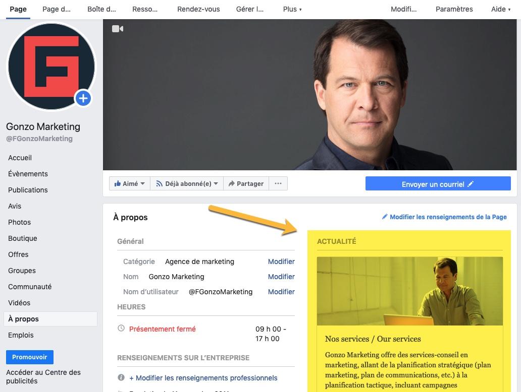 Disparition Actualités page Facebook