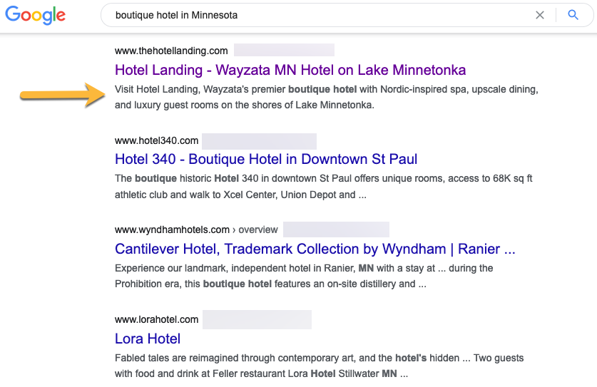 "Google Search results for ""boutique hotel in Minnesota"""
