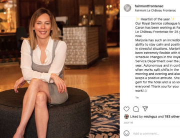 Example of employee profile on social media. Source: Fairmont Le Chateau Frontenac, Instagram