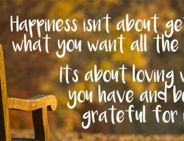 Happiness is about loving what you have